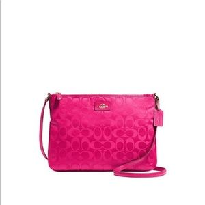 COACH Signature Nylon Crossbody Pink Ruby